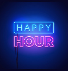 happy hour neon signboard on dark background vector image