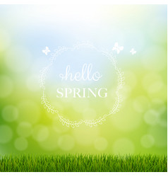 hello spring with grass border vector image