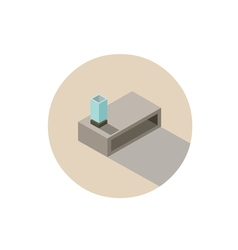 Isometric of modern coffee table with lamp vector