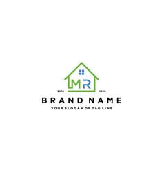 Letter mr home logo design vector