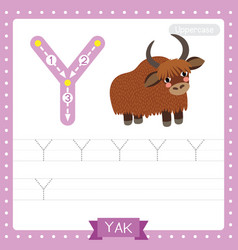 Letter y uppercase tracing practice worksheet of vector