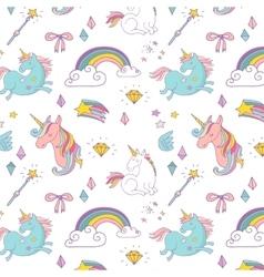 Magic hand drawn pattern - unicorn and fairy vector