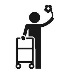 man walker icon simple style vector image