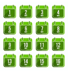 May flat calendar icons Days Of Year Set 15 vector