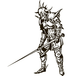 Medieval knight with sword vector image