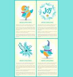 merry christmas birds and text vector image