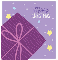 merry christmas wrapped gift box ribbon stars snow vector image