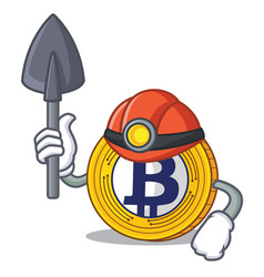 Miner bitcoin gold character cartoon vector
