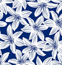 Navy and white tropical hibiscus floral seamless vector image