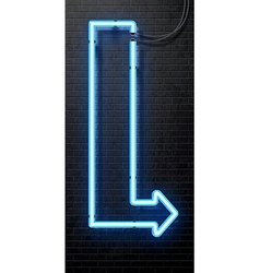neon arrow banner isolated on black brick wall vector image