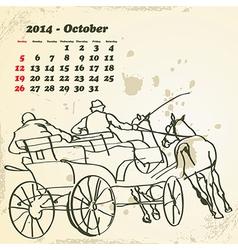 October 2014 hand drawn horse calendar vector image vector image
