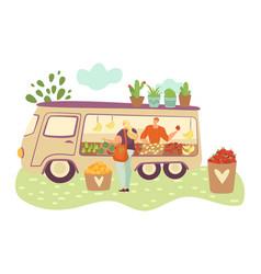 Organic food farmer truck farmers with harvest of vector