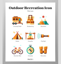 Outdoor recreation icons flat pack vector
