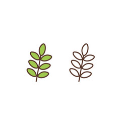 Plant leafage linear icon tree branches vector