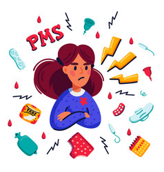 Pms concept woman suffering from premenstrual vector