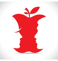 Red men and women face cutout in apple vector