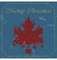 retro - vintage red Christmas maple leaf card vector image