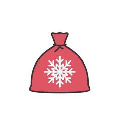 santa claus red sack christmas concept icon vector image