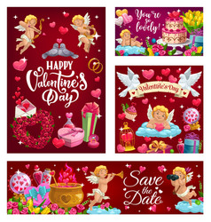 Save date happy valentines day cards vector