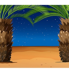 Scene with palm trees on the beach vector