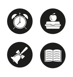 school and education glyph icons set vector image