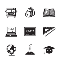 School education monochrome icons set with - globe vector image