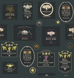 Seamless pattern wine labels vector