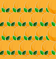 Seamless pattern with peach fruits in flat style vector