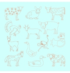 Set farm animals icon vector