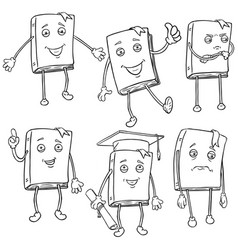 Set line characters - lively books vector