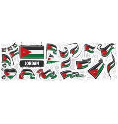 Set national flag jordan in vector