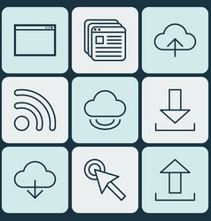 Set of 9 world wide web icons includes program vector