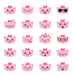 set of pigs emojis vector image