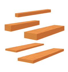 Set of wooden planks stack of bars and lumber vector