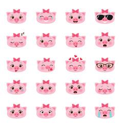 set pigs emojis vector image