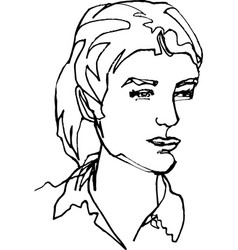 She young woman face continuous line vector