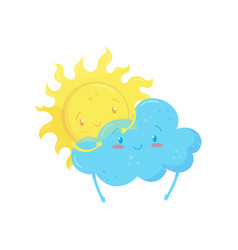 smiling yellow sun behind adorable blue cloud vector image
