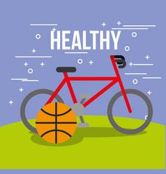 sport bike and basketball ball healthy vector image
