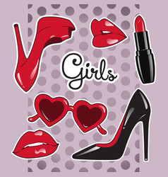Stickers set for girls over cute purple background vector