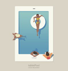 Tablet pool group of people taking a bath in a vector
