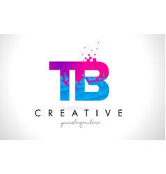 Tb t b letter logo with shattered broken blue vector