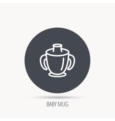 Toddler spout cup icon Baby mug sign vector