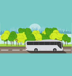 tourist express bus rides on the road against the vector image