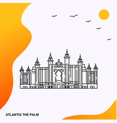 Travel atlantis the palm poster template vector