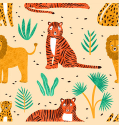 trendy seamless pattern with hand drawn lions vector image