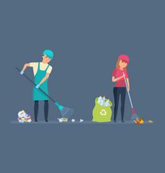Volunteers cleaning territory of garbage vector