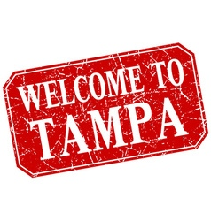 Welcome to Tampa red square grunge stamp vector