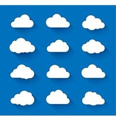 White clouds on blue sky with long shadow vector image
