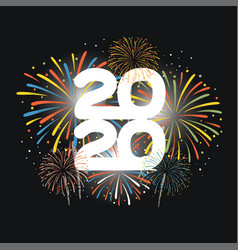 year 2020 displayed with fireworks new year vector image
