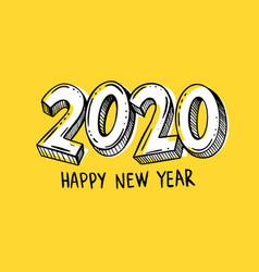 year 2020 hand written with marker vector image